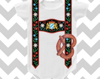 Oktoberfest Inspired Lederhosen Bodysuit  by Simply Chic Baby Boutique