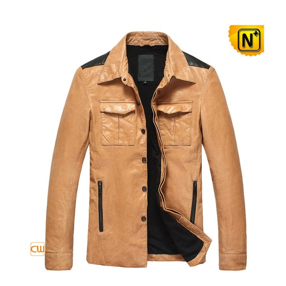 Mens Button-up Leather Jacket CW850122