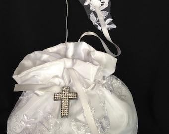 Bridal Money Purse, White or Ivory Lace Wedding Bag, Wedding Purse, Rhinestone Holy Embellishment