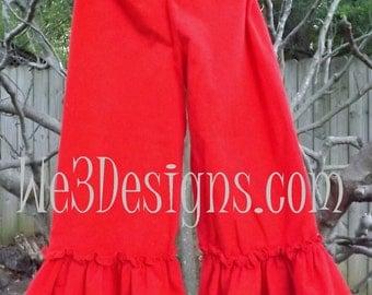 Girls Knit Ruffle Pants. Girls Ruffle Wide-Leg Knit Pants in sizes 12 months to size 12. Baby-toddler-girl-tween