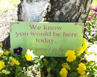 Wedding Signs - We Know You Would be Here Today if Heaven Weren't So Far Away --  In loving memory - Custom Wood Signs -- Photo Prop