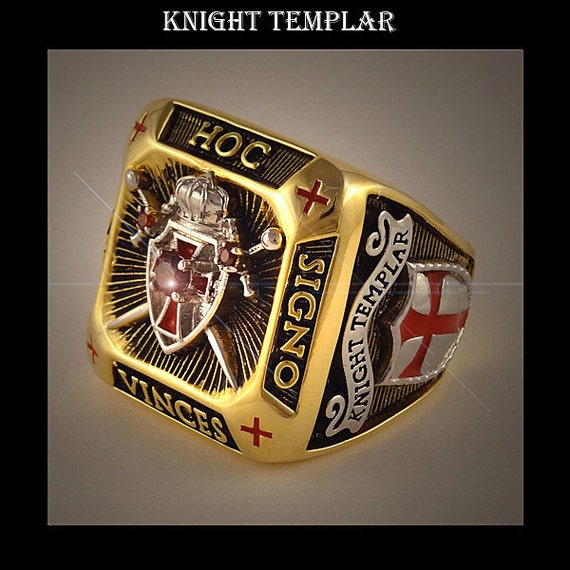 Knight Templar Masonic Ring Shield Amp Sword 2tone 18k Gold