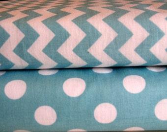 Riley Blake Fabric Duo 1/2 Yard Each Small Aqua Chevron Medium Aqua Dot Cotton Fabric