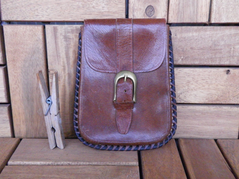 vintage 1980 s brown leather belt pouch bag