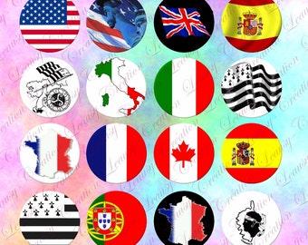 Image digitale drapeau 1 inch-25mm, capsule, cabochon rond, loisirs créatifs, téléchargement immédiat, image imprimable, bijoux, clipart,