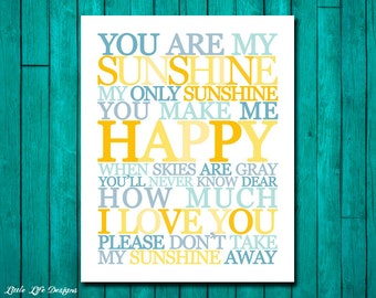 You Are My Sunshine Wall Art. Childrens Nursery Decor. You Are My Sunshine My Only Sunshine. Kids Room Decor. Nursery Wall Art. 5 Versions!
