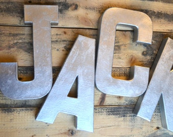 Set of Four Hand Painted Silver Lightweight Letters