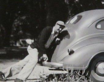 Silly 1940's Man Pushing His New Car Snapshot Photo - Free Shipping