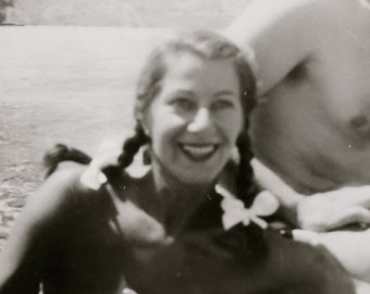 Cute 1940's His Wife Wore Pigtails Snapshot Photo - Free Shipping