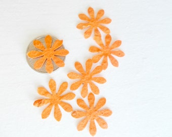 Orange Seeded Paper Daisy Flowers, Eco Friendly Wedding and Party Decor