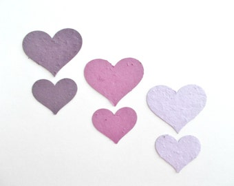 Purple 50 Seeded Paper Hearts - Eco Friendly Plantable Paper Embedded With Annual and Perennial Seeds