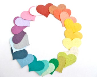 Large Plantable Seed Paper Memorial Hearts - 50 Eco Friendly Seeded Hearts - Plant and Grow  - Your Choice of Colors