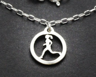 Sterling Running Gal Necklace