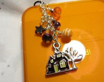 Halloween Haunted House cell phone charm, dust plug charm