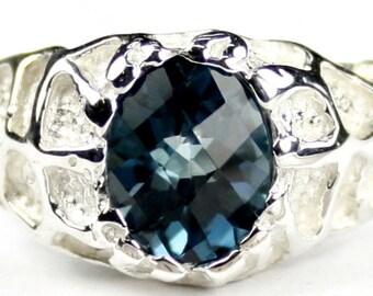 London Blue Topaz, 925 Sterling Silver Men's Ring, SR168
