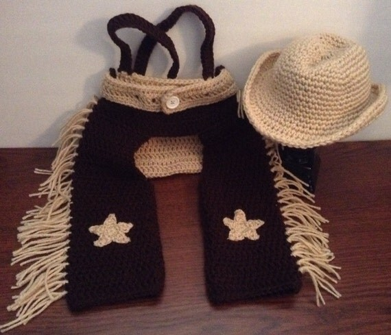 Crochet Baby Cowboy Chaps Pattern : Crochet Baby Boy Cowboy Set with Cowboy Hat Chaps and Diaper