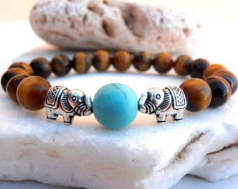Elephant Tigers Eye bracelet, Elephant bracelet, Tigers Eye bracelet, Yoga bracelet, Protection bracelet, Good Luck bracelet