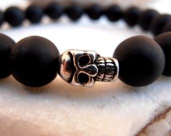 Men Skull bracelet, Black Onyx bracelet, Skull bracelet, Mens bracelet, Energy bracelet, Protection bracelet, Black bracelet