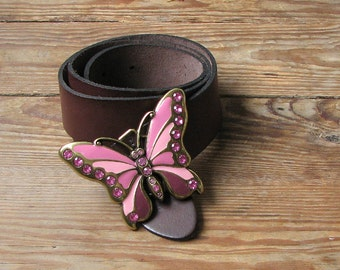 Vintage Rhinestone Butterfly Belt, Leather Belt, Brown belt, Butterfly Buckle, Bohemians fashion, Hippie accessory, Casual