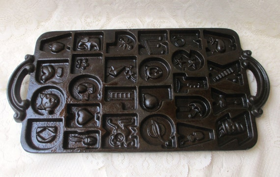 Vintage cast iron cookie mold baking pan candy making tray john