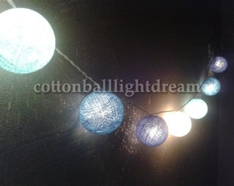 20 Blue Sky tone cotton balls string lights for wedding decoration new year party decorated