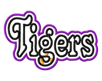 Tigers Text Double Applique Designs N078