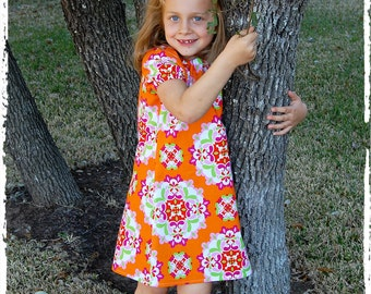 Toddler girls dress, bright happy colors**Fall Spring summer dress with short sleeves**Back to school**Peasant dress, orange, pink, green
