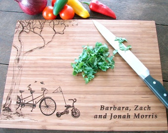 Personalized Cutting Board with Tree and Tandem Bike and Tricycle Anniversary Gift Baby Shower Gift Child Birthday Party Gift for Parents