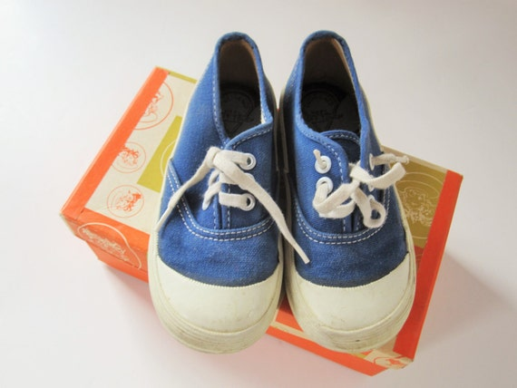 vintage child s tennis shoes made in japan blue canvas