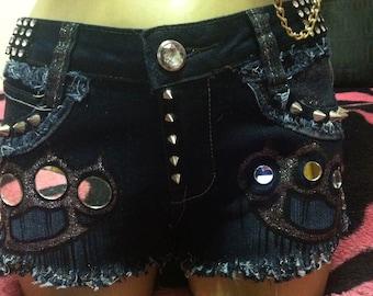Brass Knuckles Studded Glitter Mirror Custom Denim Shorts