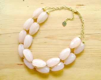 Beige Statement necklace, Cream statement necklace, beige tan necklace