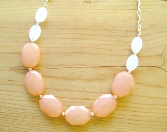 Peach Coral long and white statement necklace, Coral statement necklace