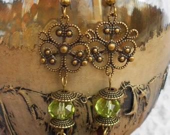 Earrings, Green Brass Earrings, Green Jewelry, Brass Jewelry, Women's Jewelry, Filigree, Dangle Earrings, Green Earrings, Brass Earrings