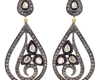 Victorian 5.20ct Rose/Polki Cut Diamond Earrings,Free Shipping Worldwide