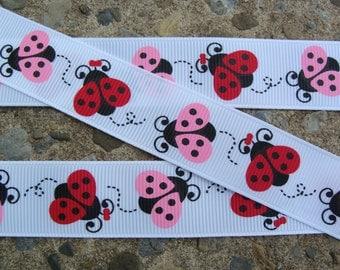"""3  yards Lady bug Ribbon Grosgrain Printed Ribbon 7/8"""" Hair Bow Ribbon"""