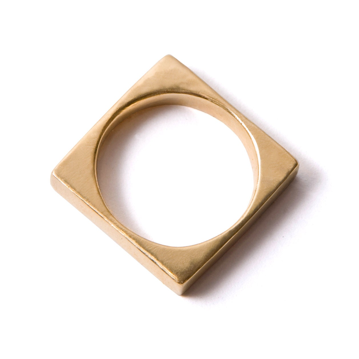 Square Gold Mens Band 18K Unisex Ring
