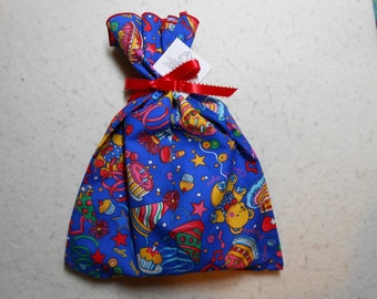 "Birthday Cloth Gift Bag - Small 10"" x 12"" - Reduce Reuse Recycle - Blue background w/ bear horn stars cake candlescloth gift wrap bags boys"