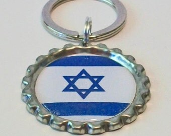 Unique Isreal National Flag 189 Different Countries Available Metal Flattened Bottlecap Keychain