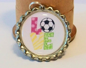 Colorful Soccer Love Flattened Bottlecap Pendant Necklace