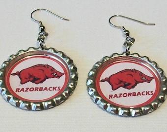 Fun Arkansas Razorbacks Inspired Red and Whtie Metal Flattened Bottlecap Dangle Earrings