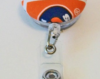 Fun Blue and Orange Tigers Auburn Inspired Fabric Button Retractable Badge Reel Clip