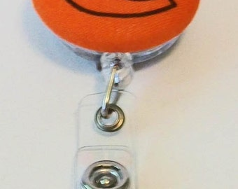 Fun Orange and Purple C Clemson Tigers Inspired Fabric Button Retractable Badge Reel Clip