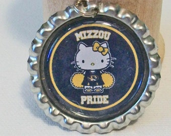 Cute Black and Gold Cheerleader Missouri Pride Mizzou Missouri Tigers Inspired Flattened Bottlecap Pendant Necklace