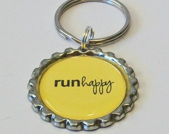 Bright Yellow Run Happy Inspired Metal Flattened Bottlecap Keychain Great Gift