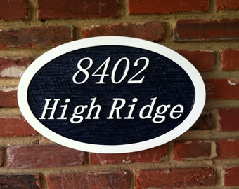 Custom Carved House Number Sign with Street Address -
