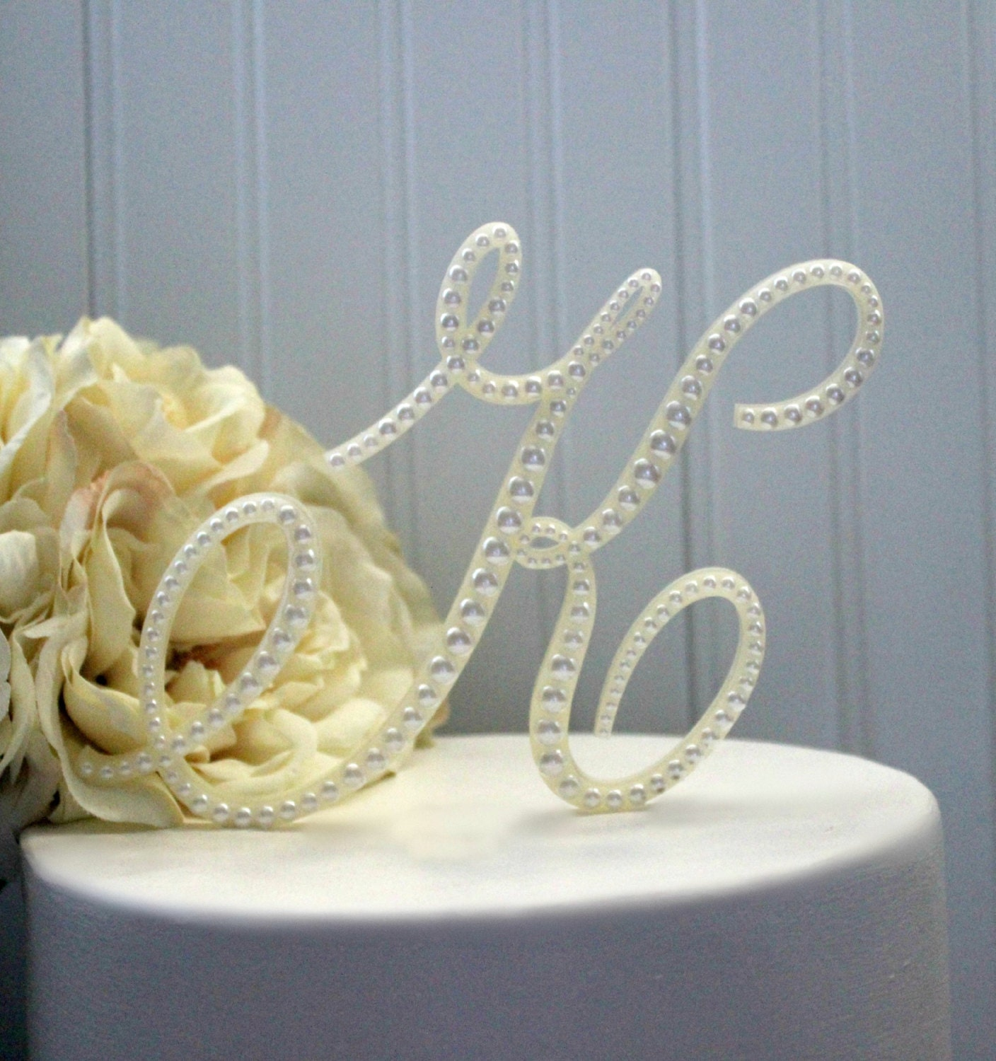 Cake Decor Pearls : Pearl Wedding Cake Topper Pearl Initial cake toppers Vintage
