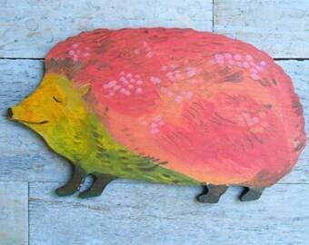 Hedgehog handpainted wood wall sculpture