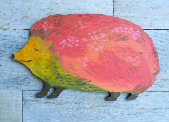 Hedgehog handpainted wood wall sculpture