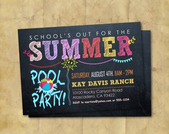 Summer Birthday Pool Party Printable Invitation / Summer Party / Pool Party / Printable Invitation