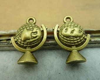 10pcs 15x20mm Antique Bronze Globe Charms Pendant